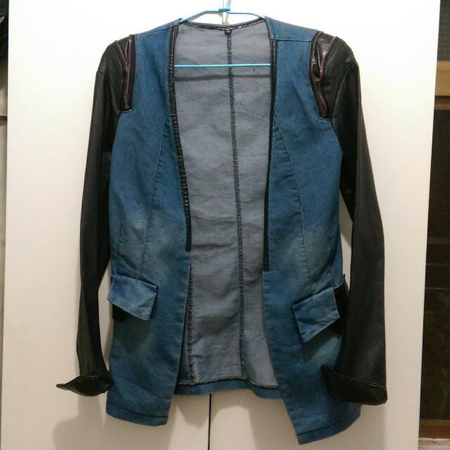 👑牛仔拼皮拉鍊墊肩顯瘦個性外套
