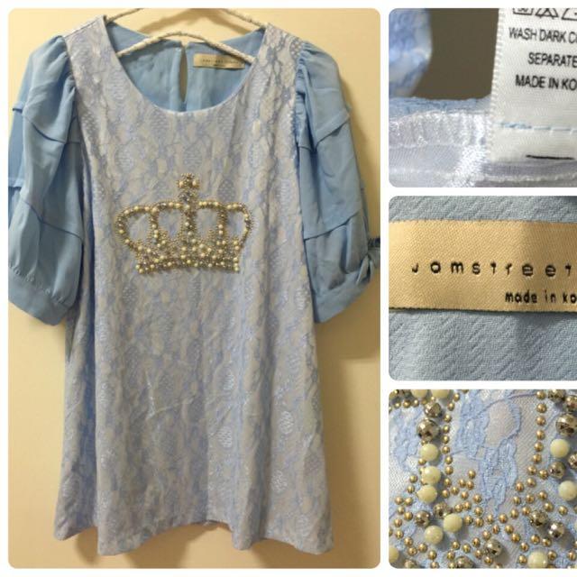 全新 粉藍皇冠蕾絲洋裝