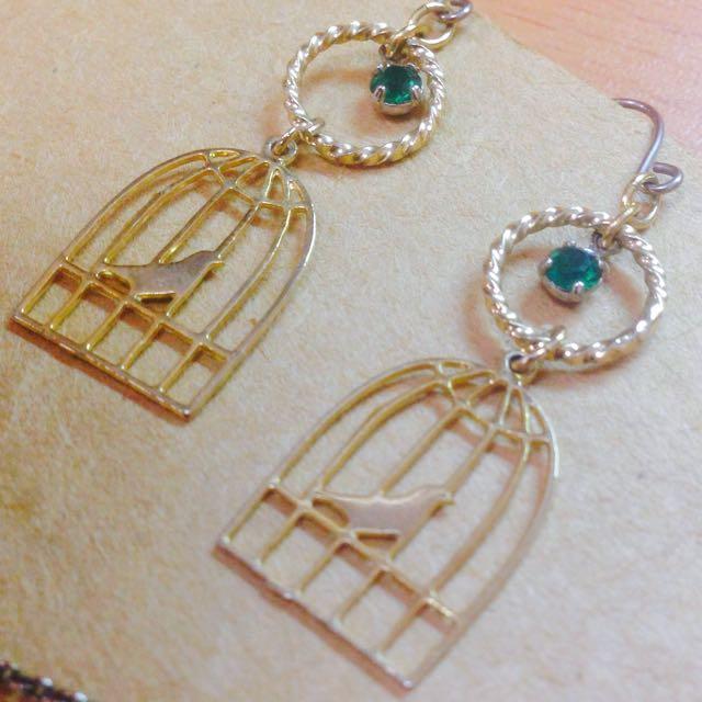 日本 Kaza 籠中鳥 耳環