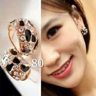 豹紋水鑽耳環
