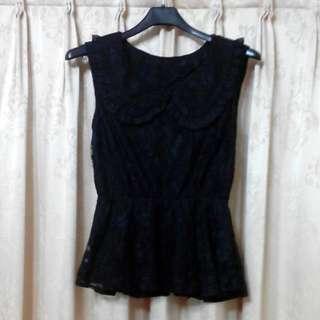 黑色蕾絲收腰上衣