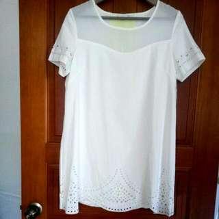 個性鏤空半透明背部亮色拼接造型寬鬆雪紡連身裙
