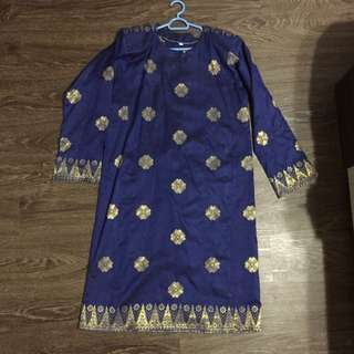 Baju Kurung Songket Blue Gold