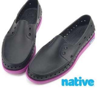 native HOWARD 晴雨帆船鞋-黑x葡萄紫(男/女)