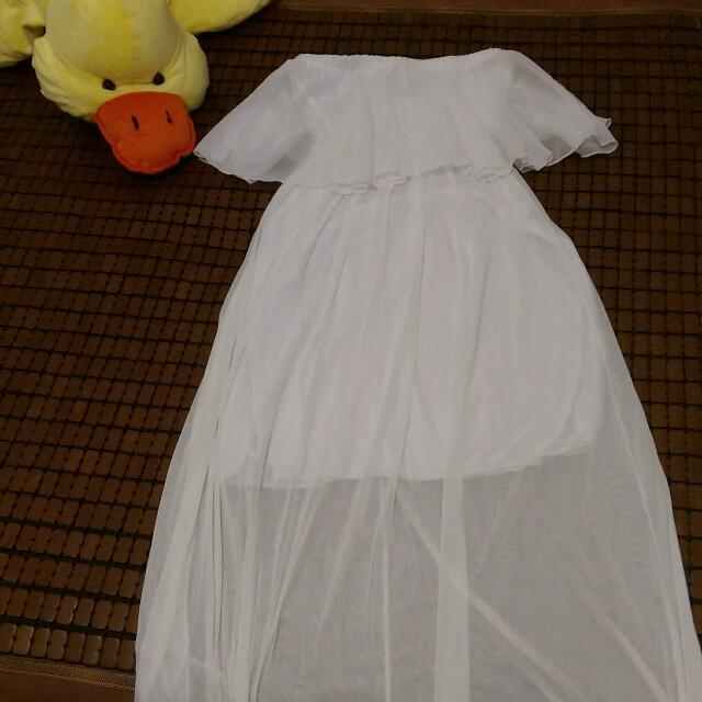 女神款👑純白雪紡平口長洋裝