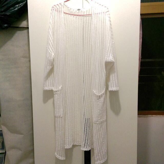 👑白色透膚長罩衫