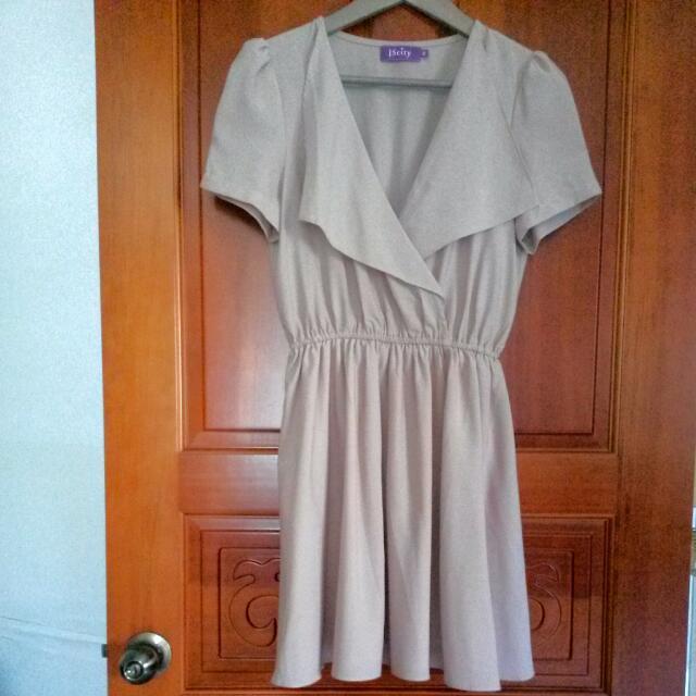 粉杏色優雅V領收腰雪紡連身裙洋裝