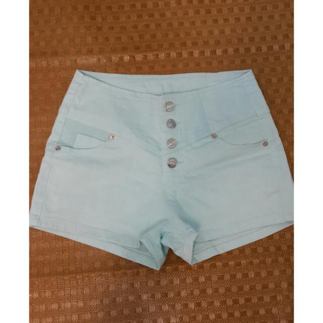 二手-淺藍色高腰短褲