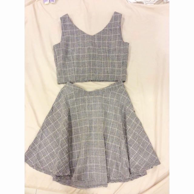上衣+裙 (灰色格子)