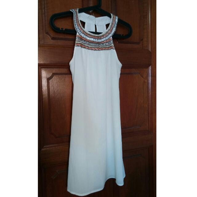 8813e9ee39 Simple WHITE Dress w Beaded Details