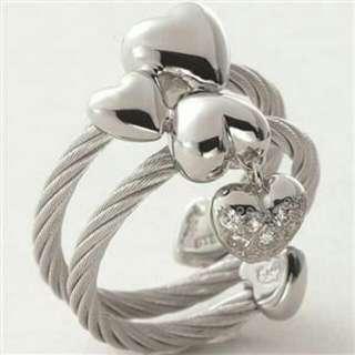 夏利豪CHARRIOL 佩岑最愛 情人節六顆愛心 銀色鋼索女戒指