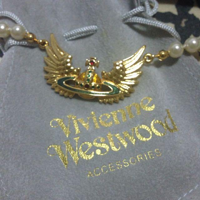 100%全新正品真品Vivienne Westwood彩漆彩色土星翅膀珍珠手鍊VW#轉轉來交換