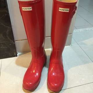 Hunter 雨靴 亮皮紅色 UK6 EUR39 24.5cn