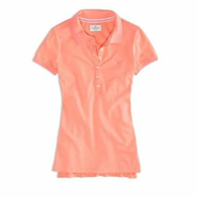 螢光橘AE Polo衫