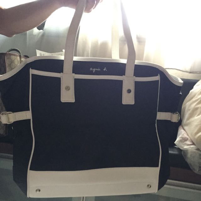 bac099f81de Agnes b Tote Bag In Black Navy Blue, Women's Fashion on Carousell