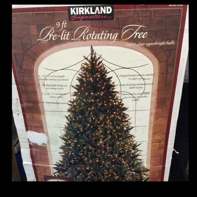 Pre Lit Rotating Christmas Tree.Kirkland Signature 9ft Pre Lit Rotating Christmas Tree