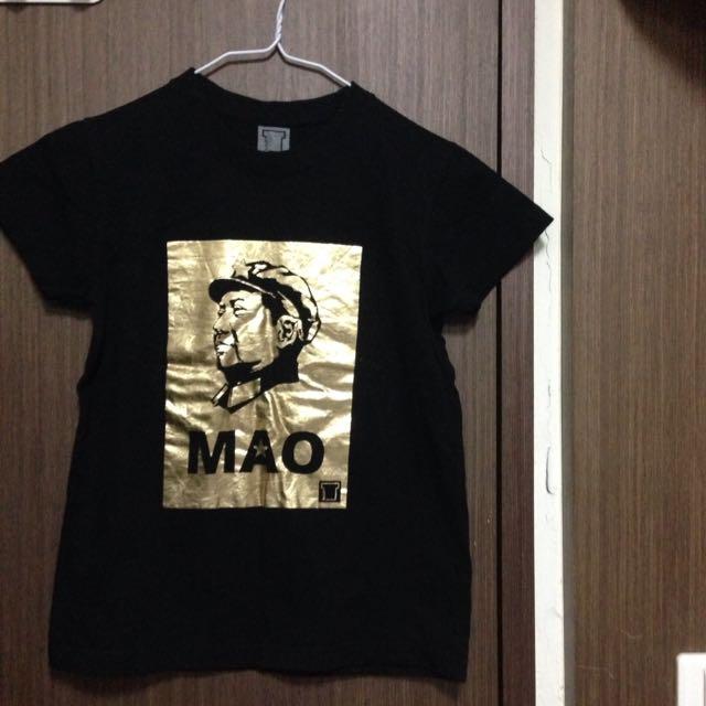 全新燙金毛澤東圖樣短袖T恤