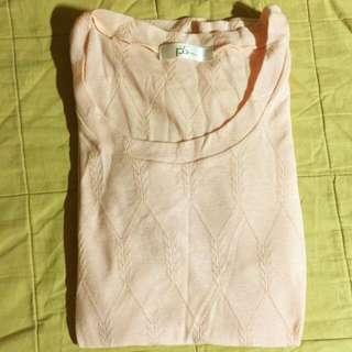 專櫃品牌PScompany淺粉膚色特殊紋路織法薄針織上衣