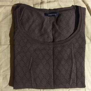 正韓貨-復古菱格織法特殊剪裁薄針織上衣