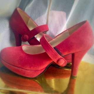 ❤️麂皮深紅氣質高跟鞋