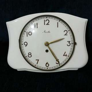 Vintage Art Deco 1960s Porcelain Kitchen Wall clock MAUTHE Made in Germany