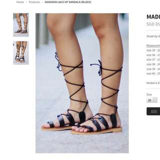 Dainty Roses Black Lace Up Sandles!!!