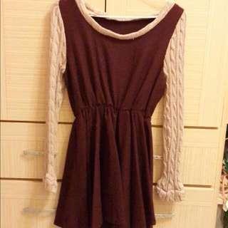 酒紅色氣質長袖洋裝(#好秋服飾)