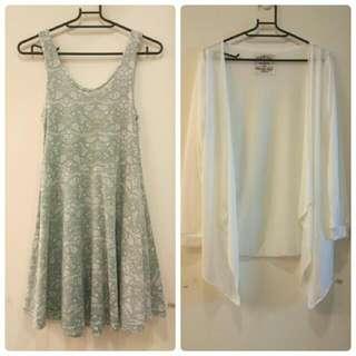 (保留中)白色罩衫+果綠洋裝