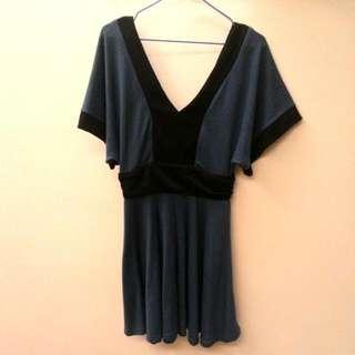 二手 前後大V領洋裝 藍