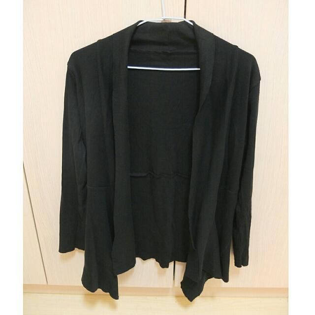 黑色羅紋開襟不規則外套