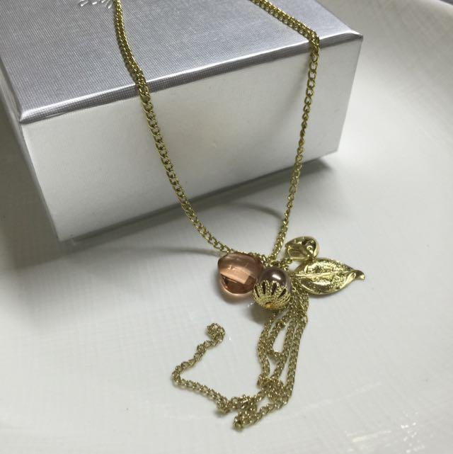 珠珠葉片心鎖 項鍊