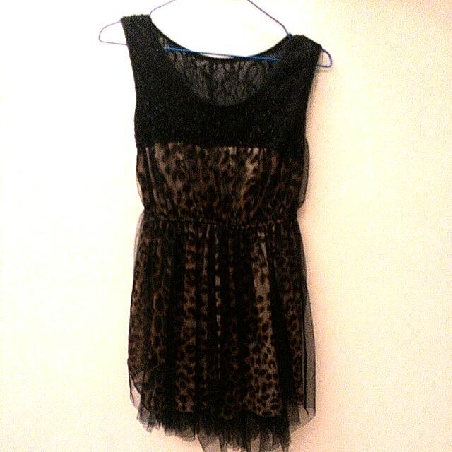 二手  性感豹紋網紗洋裝