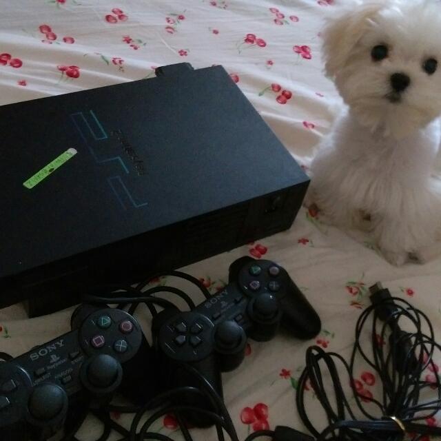 PS2 黑色 7成新 贈近20片遊戲光碟