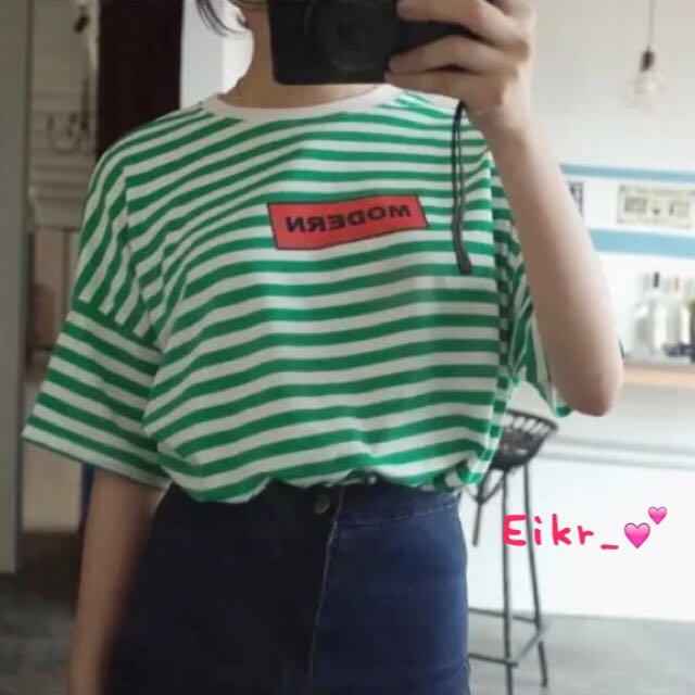 五分袖條紋T恤上衣(藍綠兩色)