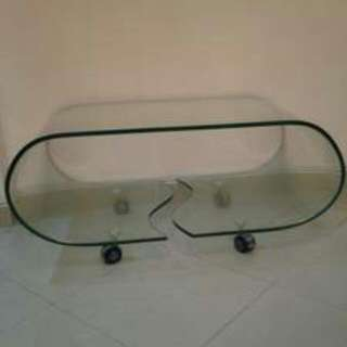 Modern Glass Coffee Table With Wheels + DLVRY