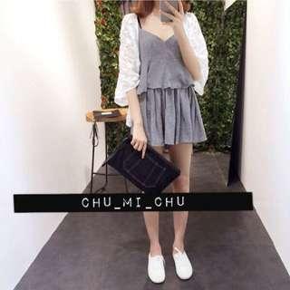 韓荷葉下襬低領細肩帶+寬鬆短褲褲裙寬褲套裝