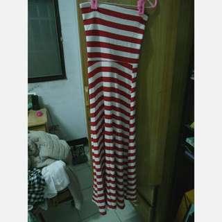 (全新)平口橫條紋洋裝