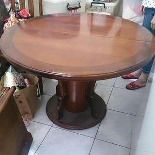 💪整套木頭圓形餐桌+椅子