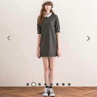 法式優雅知性直紋洋裝