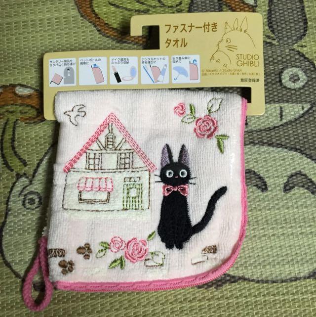 日本帶回 魔女宅急便 黑貓 粉紅毛巾拉鍊收納袋