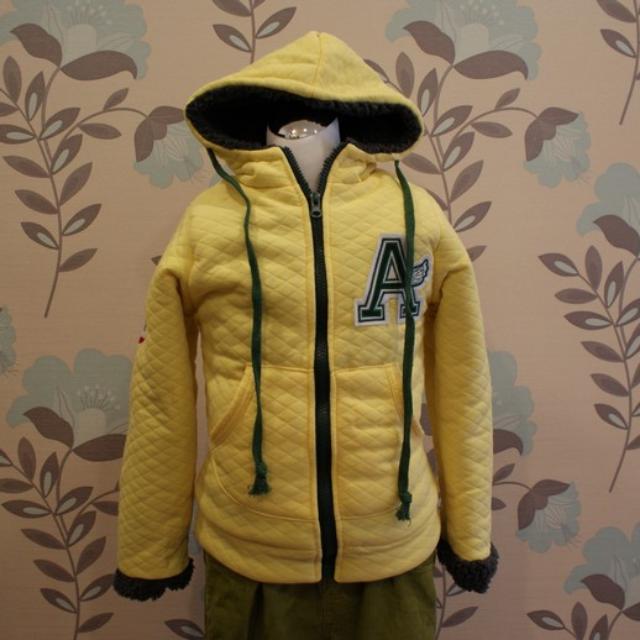 冬天內裡鋪棉帥氣外套 男女皆可 全新 黃色, 內裡綠色