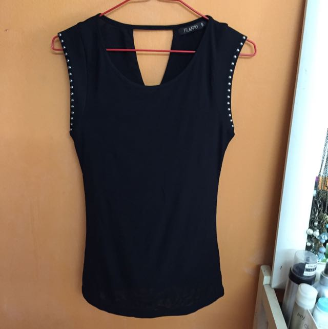 Black Top With Studded Sleeves