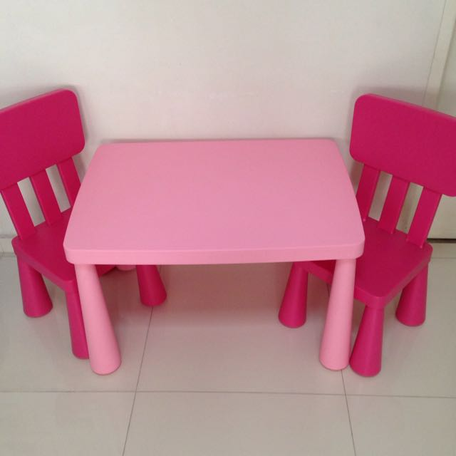 ikea mammut kids table chairs pink furniture on carousell. Black Bedroom Furniture Sets. Home Design Ideas