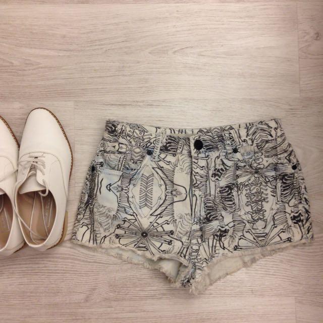 全新Topshop 白色圖騰牛仔褲