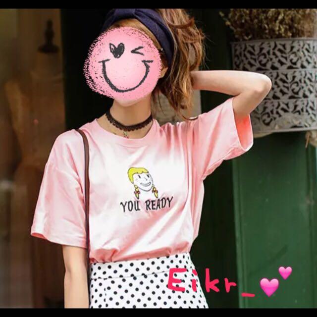 (You Ready)辮子女孩粉紅色短袖T恤上衣