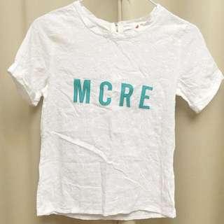 (免運)白色立體印花短版上衣💛