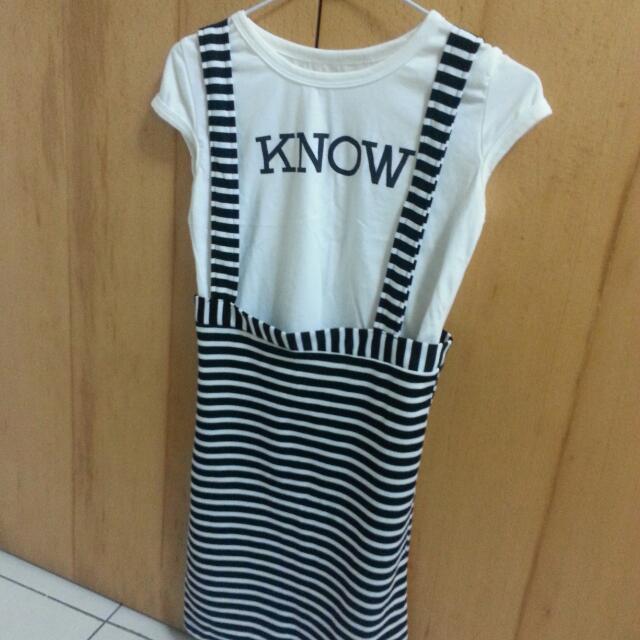 韓版兩件式條紋吊帶洋裝