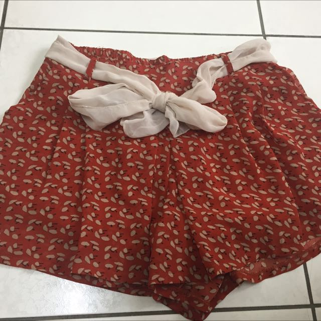 橘紅色雪紡褲裙