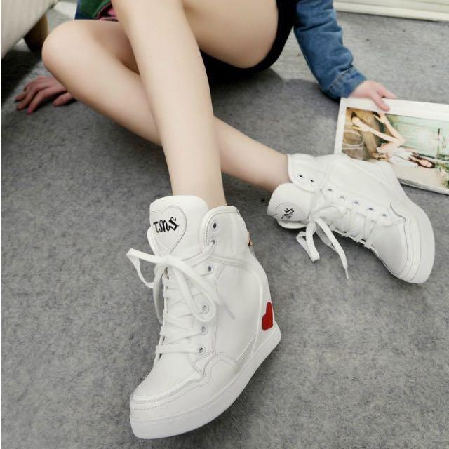 韓國空運 愛心釦環綁帶 內增高鞋7.5cm Size24.5