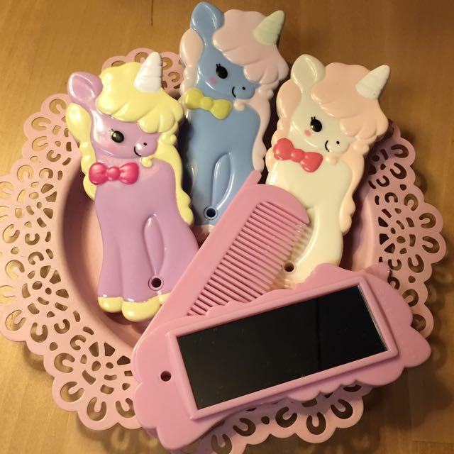 日本帶回 獨角獸/兔子 隨身鏡+扁梳 小梳子 Unicorn/Bunny Comb+Mirror